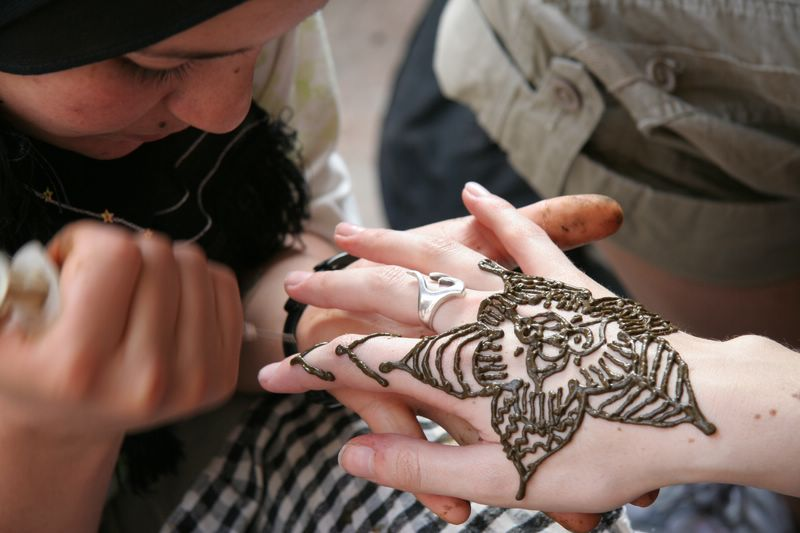 Getting henna art done high in the Atlas Mountains