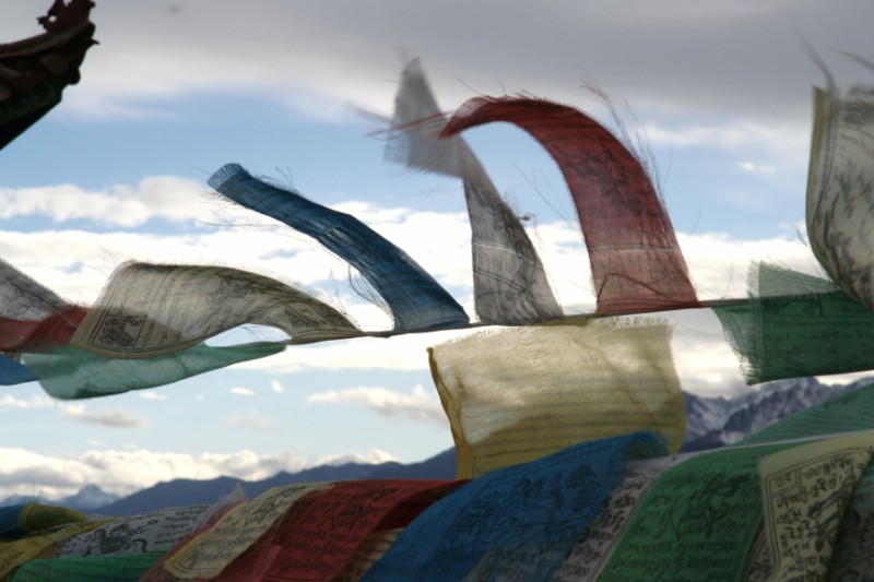 Tibetan Prayer Flags sending the prayers to the heavens