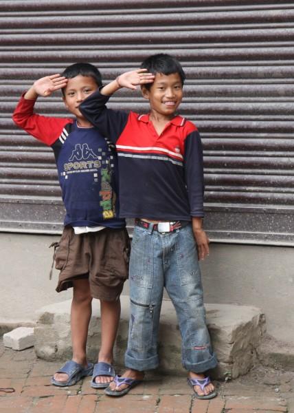 Nepalese boys saluting me