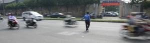 Crossing the street in Vietnam