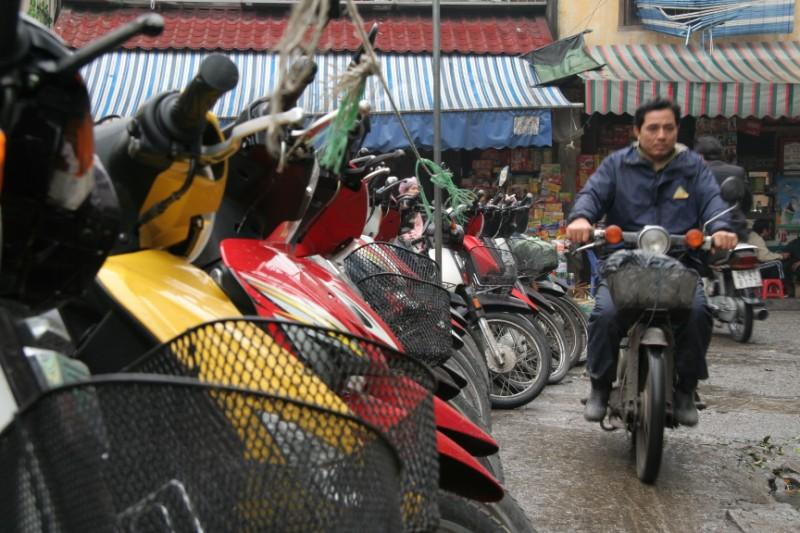 Motorbikes parked on the street