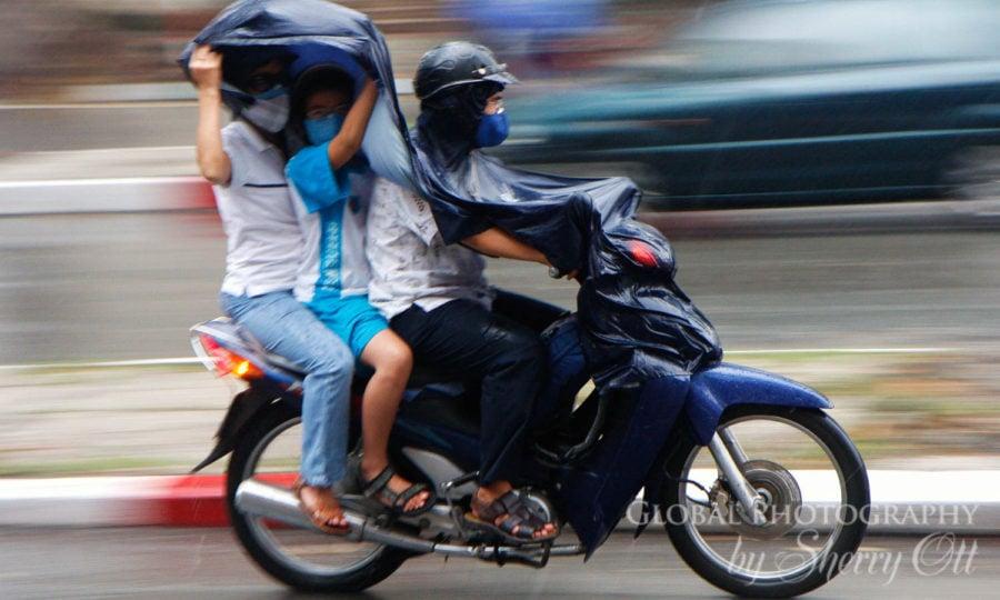 rain ponchos in Vietnam