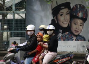 Kids without helmets; advertising campaign watching over them