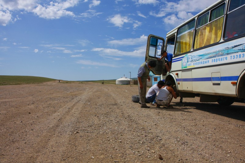 Mongolian bus flat tire