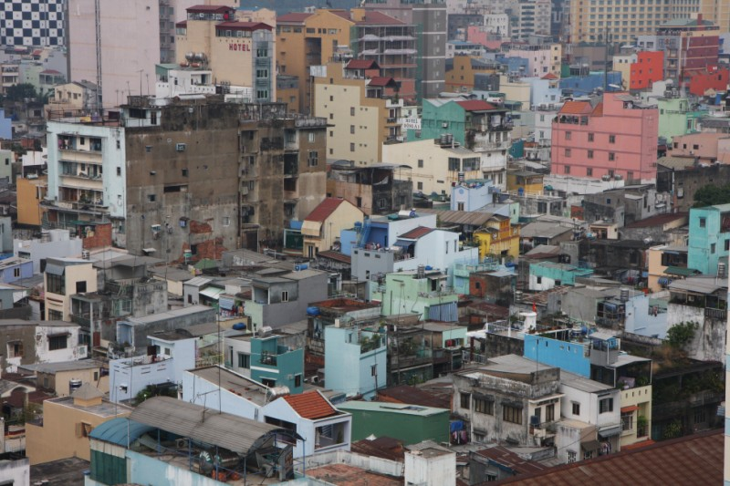The densely packed city of Saigon