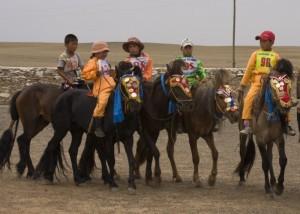 Mini jockeys and horses
