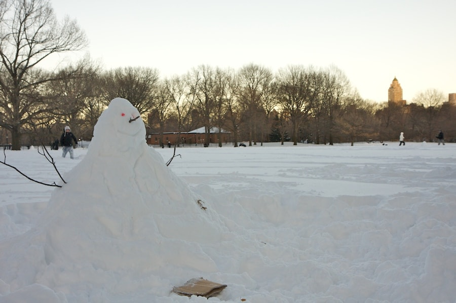 snow man central park