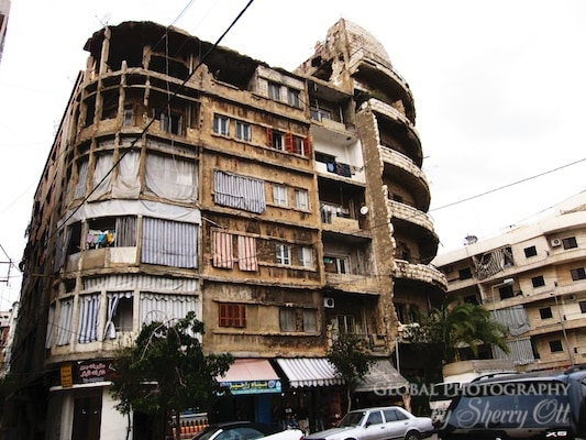 bombed building beirut