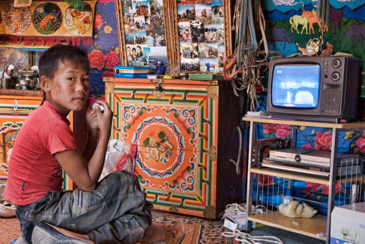 mongolian ger with a tv