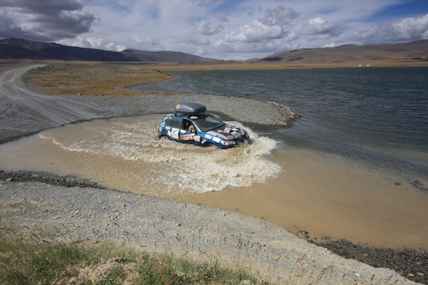 car river crossing mongolia