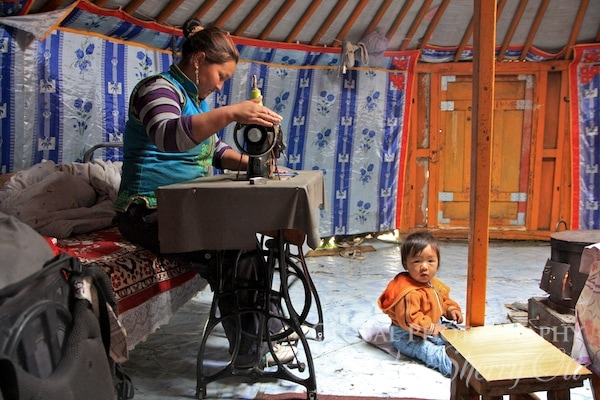 learning how to sew while visiting mongolia