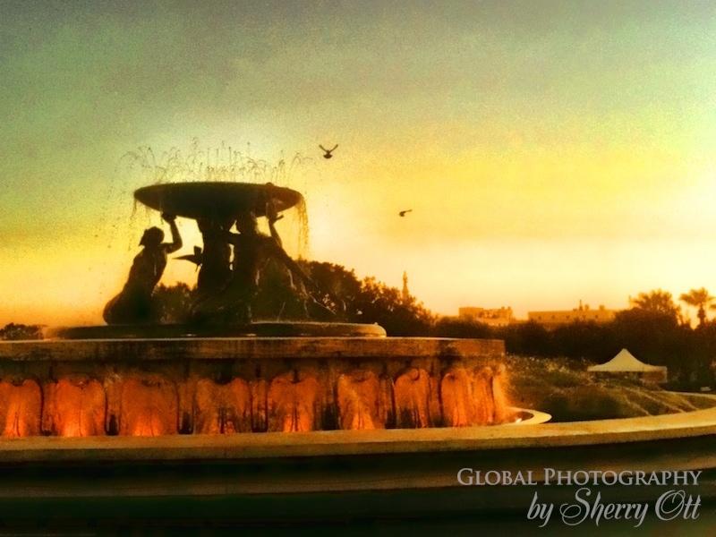 fountain sunset