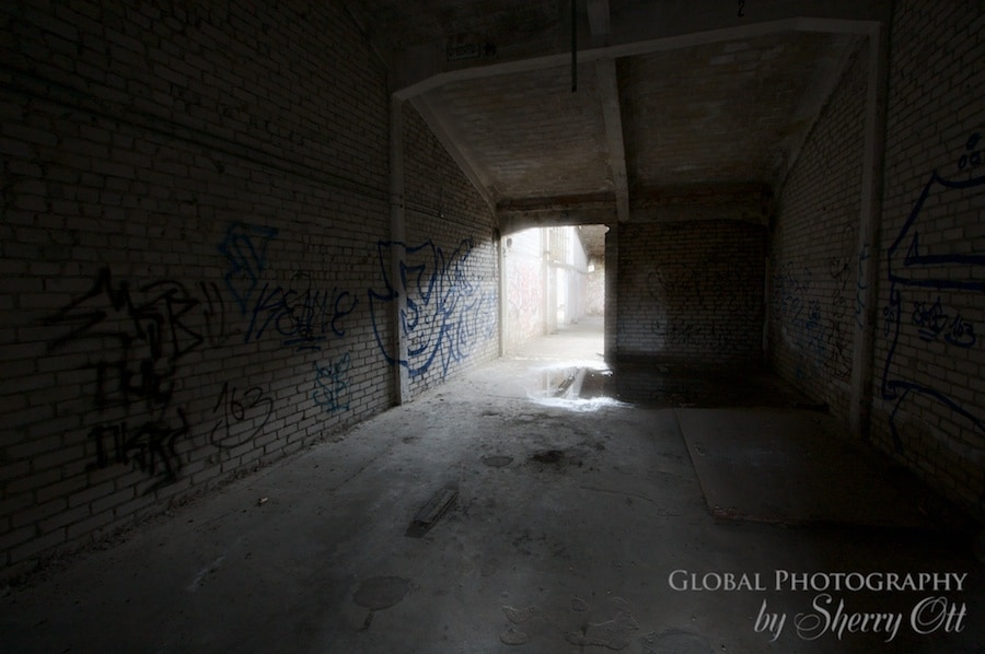 Light filters through a doorway