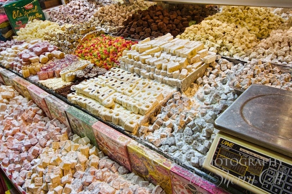 Turkish delight for sale in Istanbul's spice bazzar