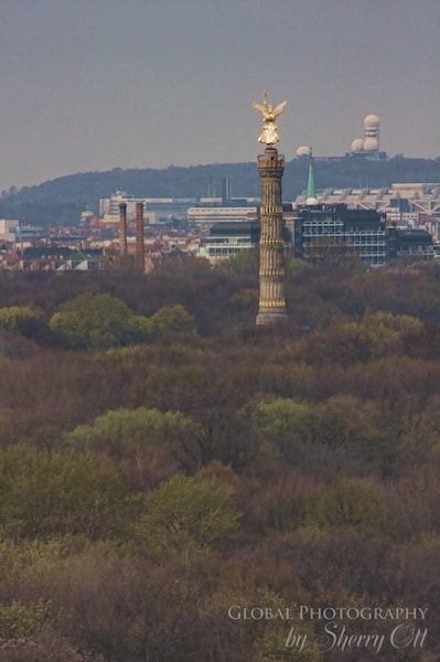The Victory Tower in Tiergarten Park as seen from the Reichstag Dome