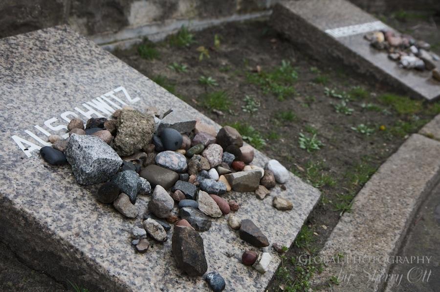 Rocks left at the Holocaust memorial