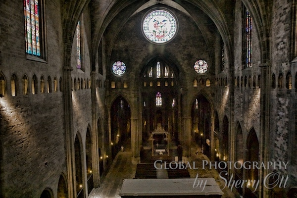 girona cathedral nave view from above
