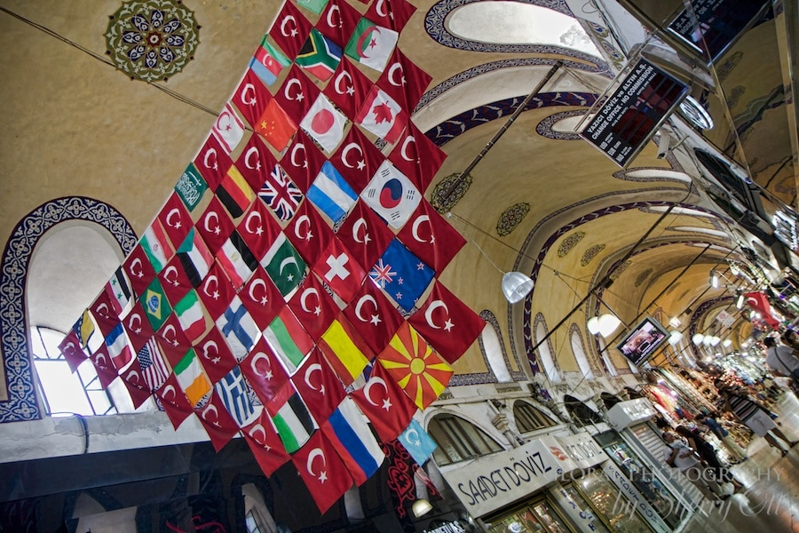 A collage of flags on the cieling of the Grand Bazaar