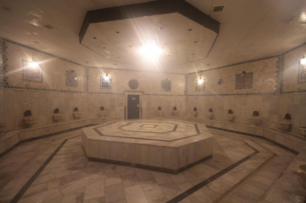 The hot steamy marble bath