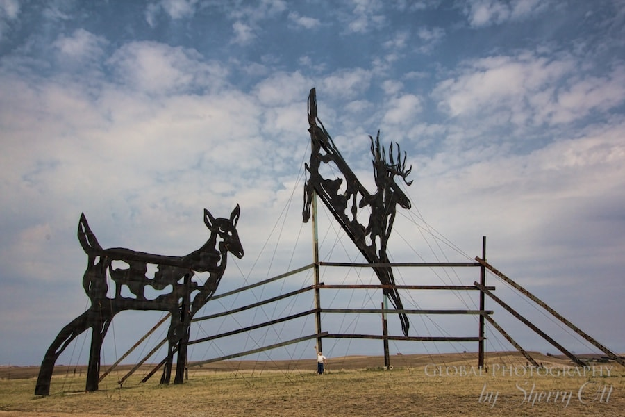 Giant deer metal sculpture