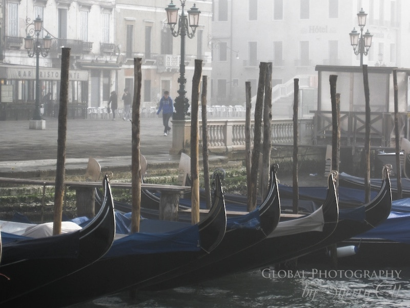 Gondolas in the fog