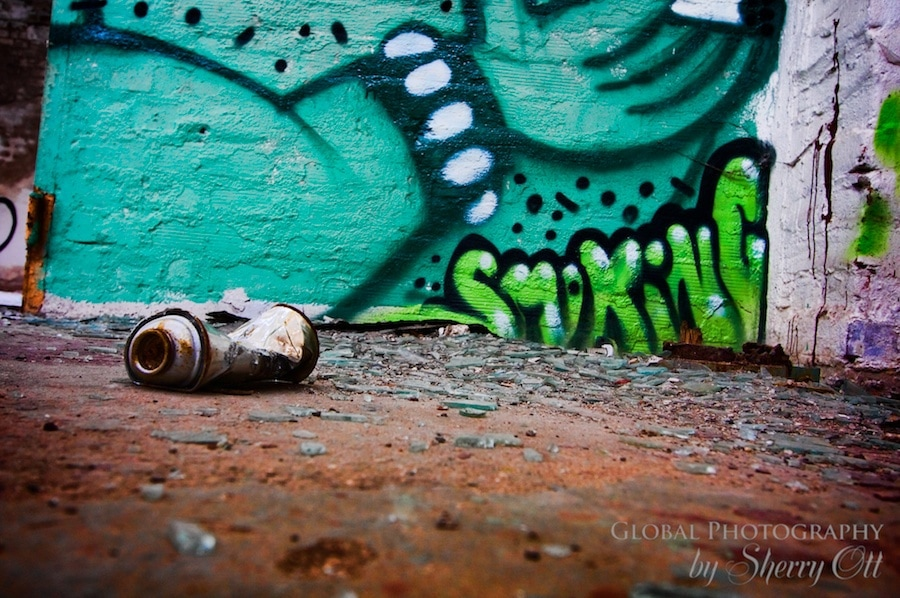 Graffiti and spray can