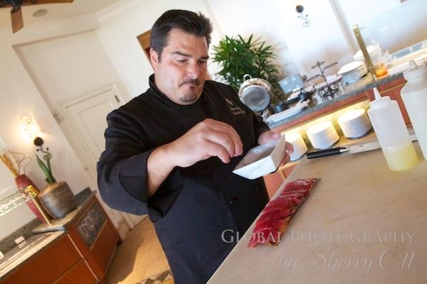 Chef Kevin makes sashimi flat bread