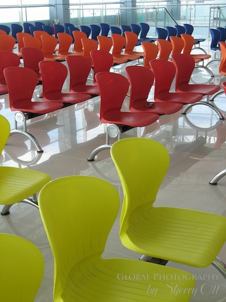Colorful airport chairs in SE Asia