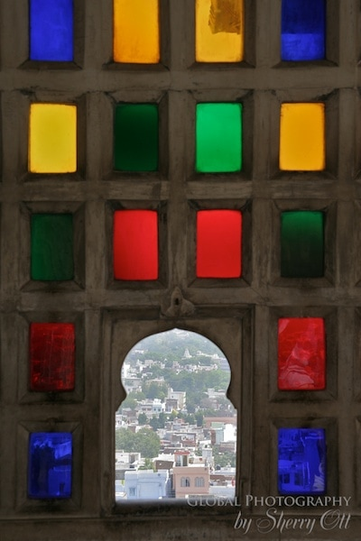 Colored glass window Udaipur India