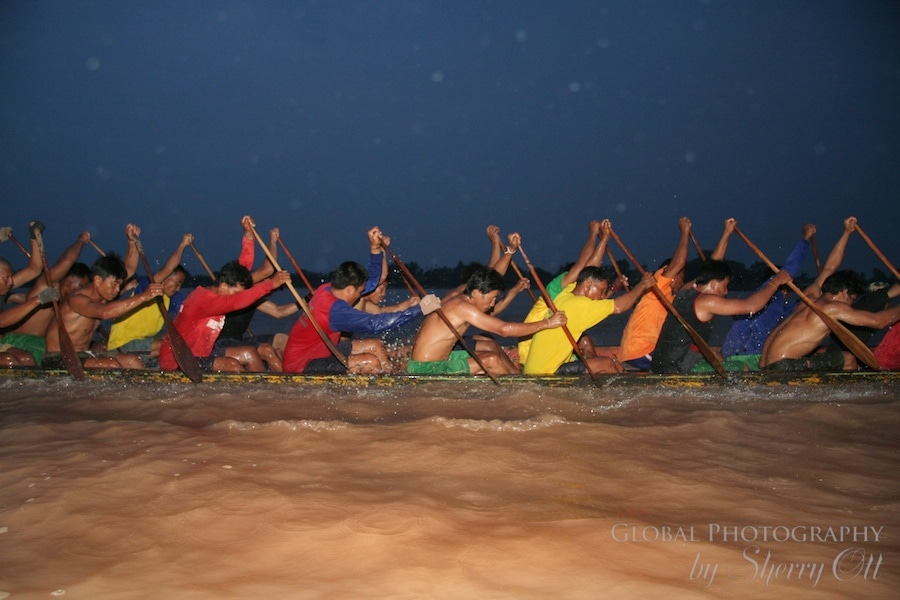 Boat racing on the Mekong in Laos