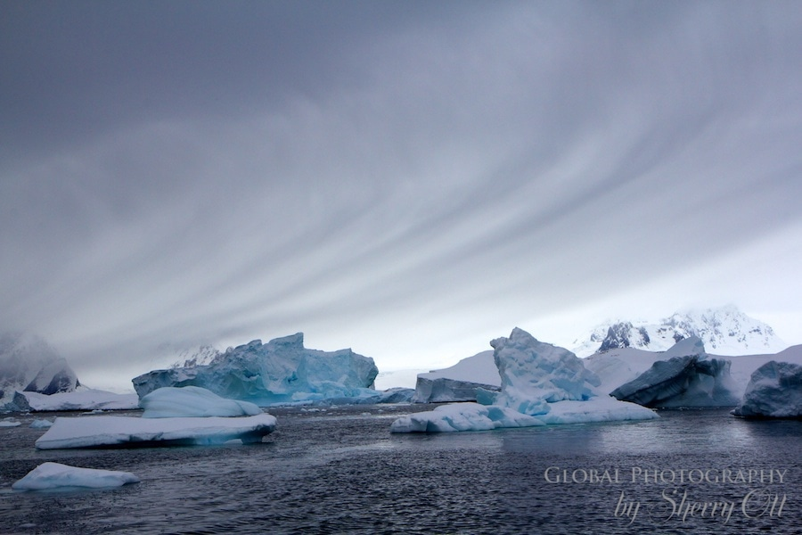 swirling clouds in antarctica