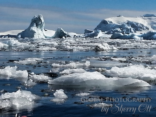 Brash ice that we had to paddle through