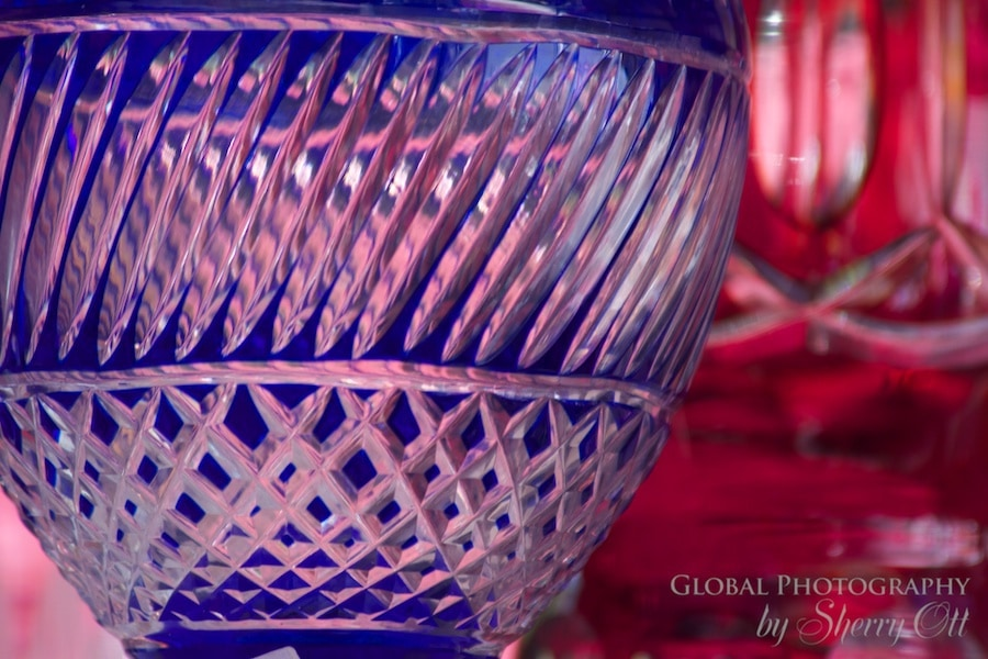 Colorful and ornate glass dishes at the market