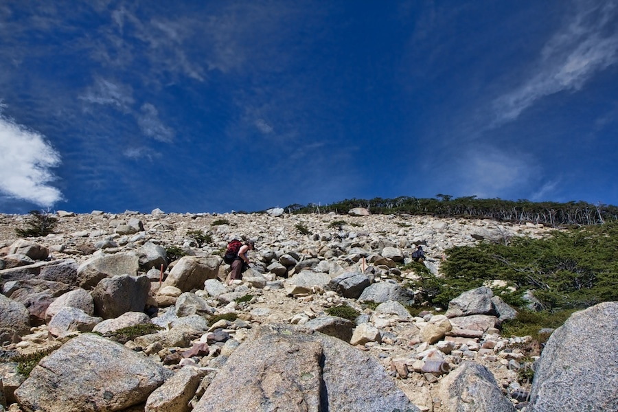 A steep climb up the moraine