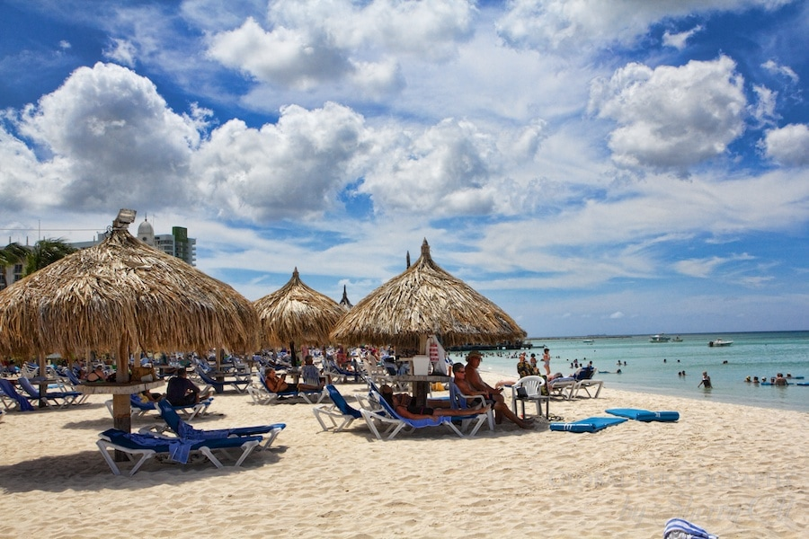 48 hours in aruba Palm Beach palapas