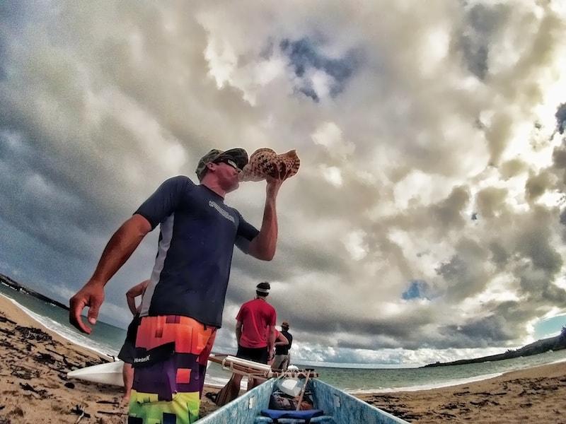 Conch shell horn Hawaiian outrigger tour