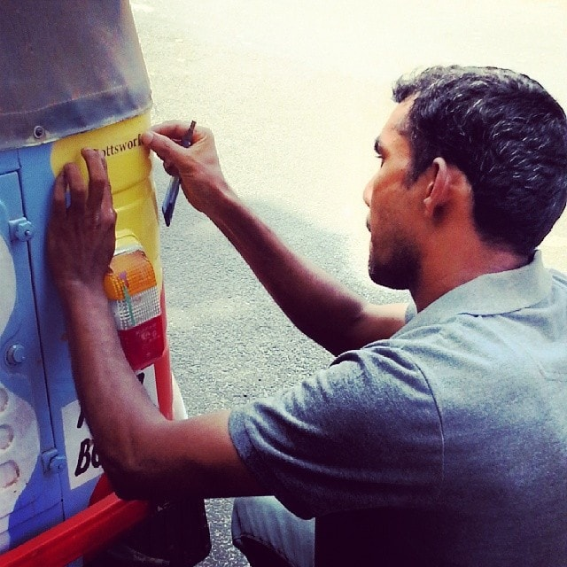 applying decals to the Rickshaw