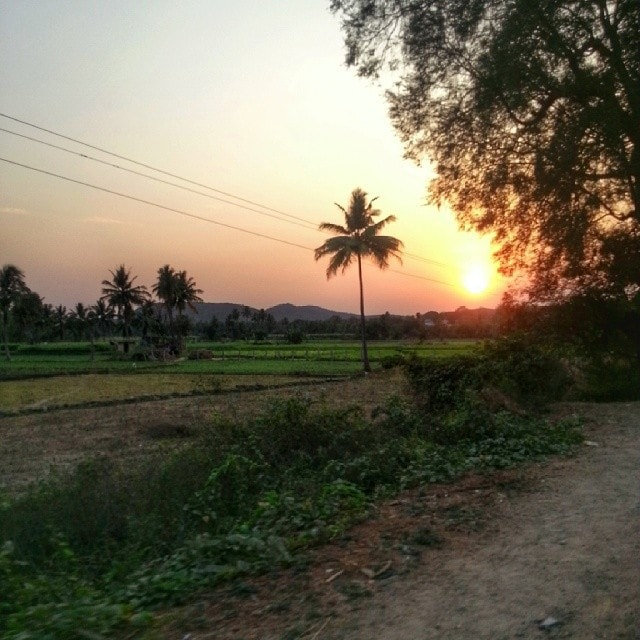 arriving into Chittorr India at sunset.