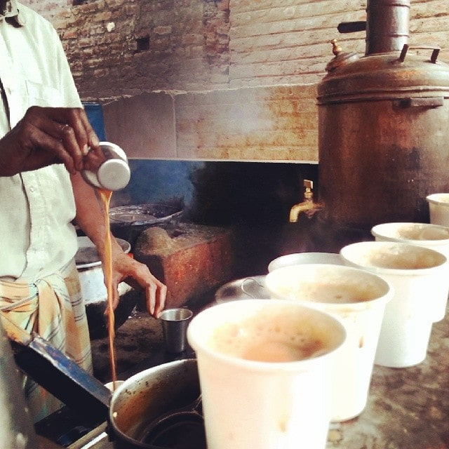 masala chai on the side of the road in India