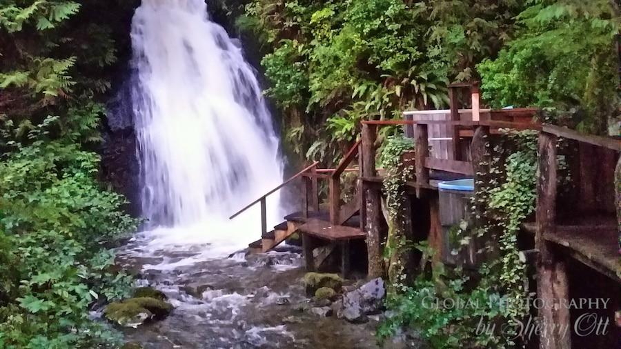 waterfall that powers the resort