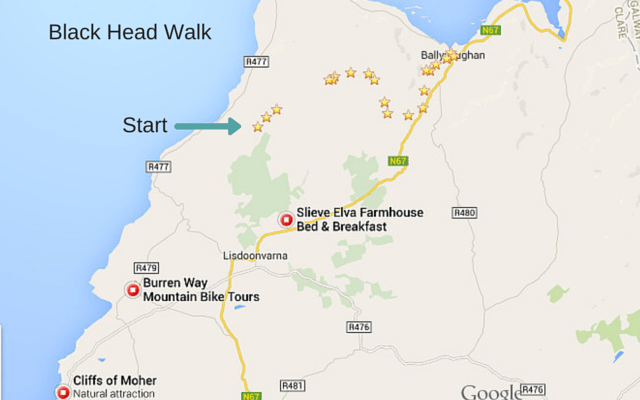 Burren walking trail map