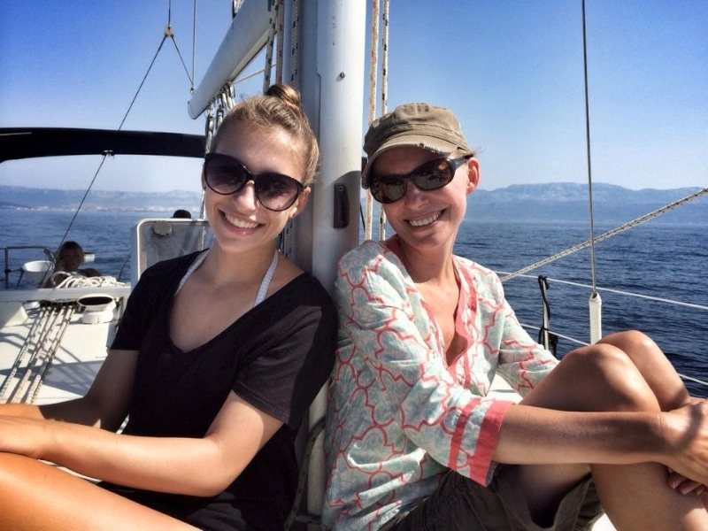 Laura and Michaela sailing on the Adriatic