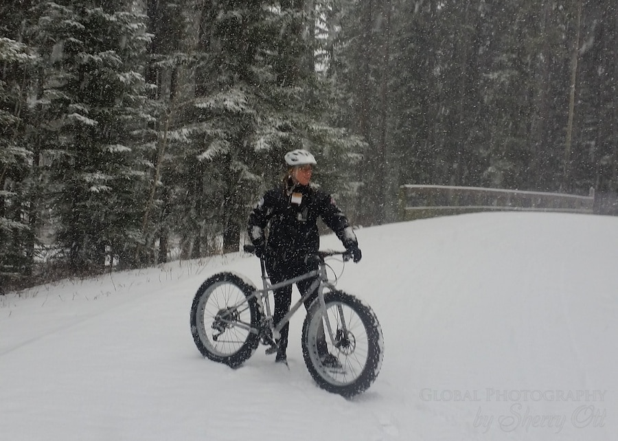 Fat biking in freshly fallen snow makes for soft landings!