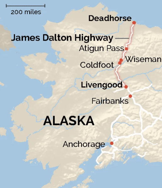 dalton highway map fairbanks to deadhorse