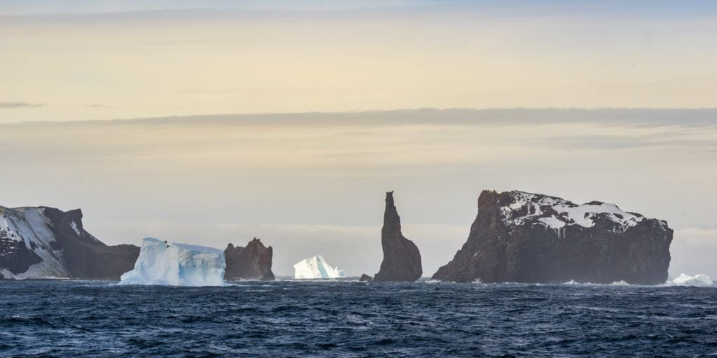 Balleny islands, one of the stops while traveling to Antarctica via the Ross Sea