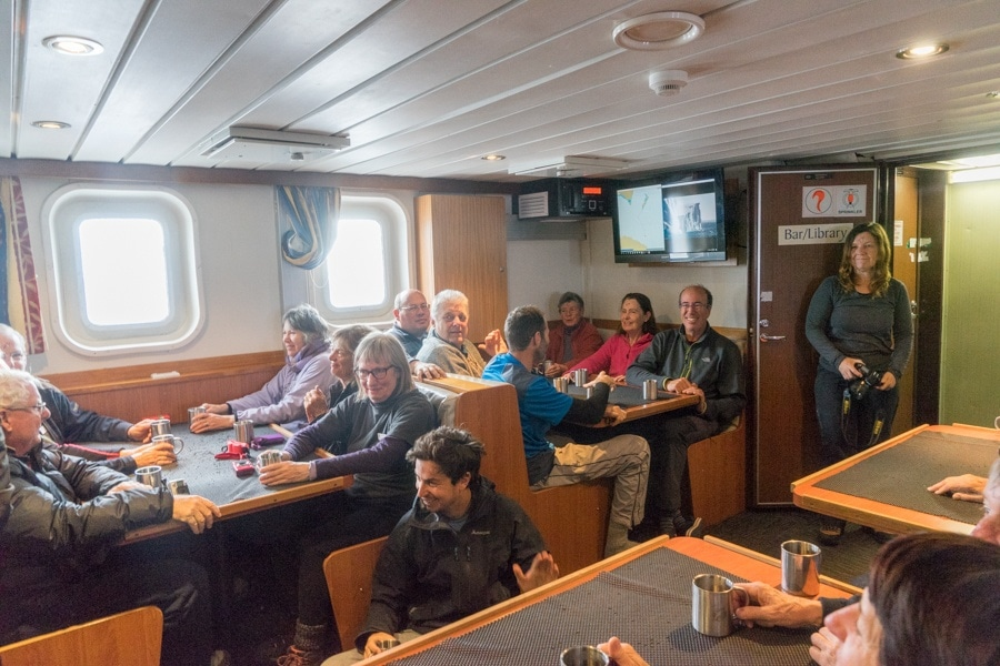 the bar/library on the spirit of enderby, the cruise I took with heritage expeditions