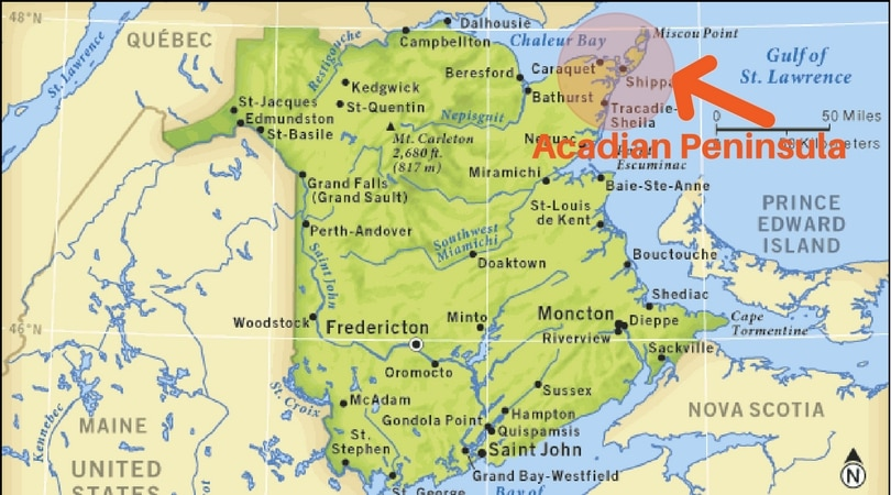 Acadian Peninsula map new brunswick