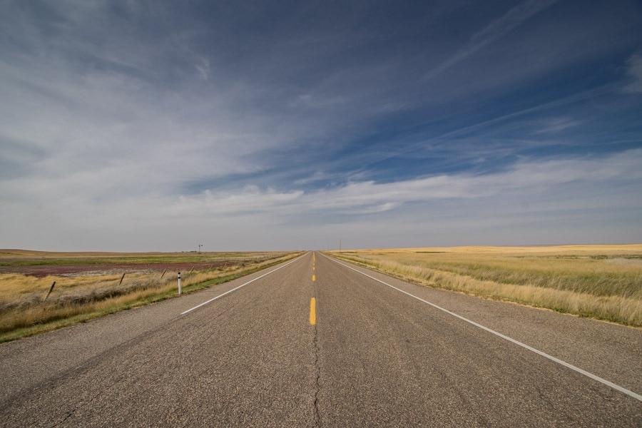 Canadian Badlands landscape with road