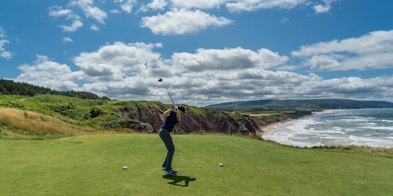 Cabot Cliffs Golf Course teeing off