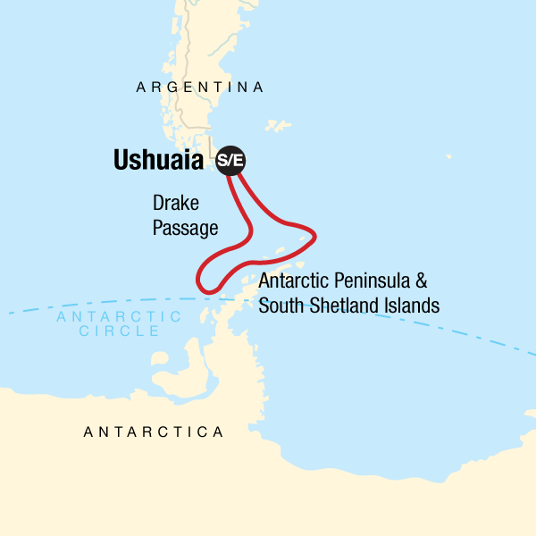 Map of the Drake Passage route: Ushuaia to Antarctica and back